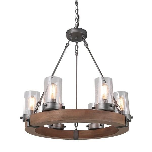 shop lnc 6-light wood chandeliers rustic pendant lighting