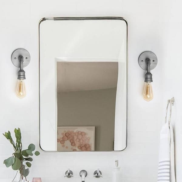Industrial Bathroom Sconce   Shop Lnc 1 Light Wall Sconce Silver Industrial Bathroom