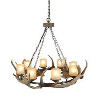 LNC 8-Light Antler Pendant Lighting Ceiling Lights Chandeliers Drum Glass Shade