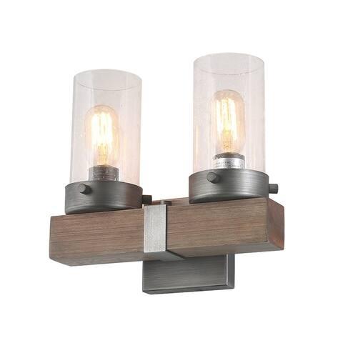 "LNC Farmhouse 2-Light Industrial Wall Sconces Wood Wall Lighting - L11.8""x W5.9""x H10.6"""