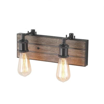 LNC 2-Light Metal and Wood Bathroom Vanity Wall Lights