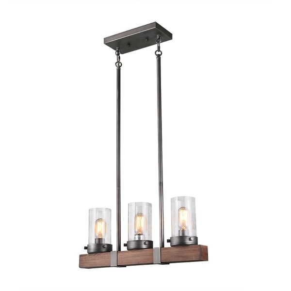 Shop LNC 3-Light Linear Chandeliers Wood Kitchen Island