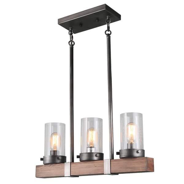 Shop LNC 3-Light Wood Linear Kitchen Island Chandeliers ...