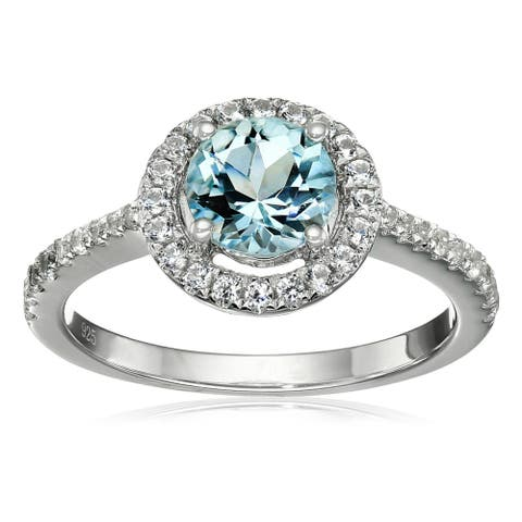 Ster Silver Aquamarine & White Sapphire Solitaire Ring