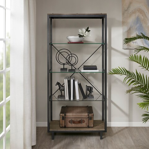 "Madison Park Leo Iron/ Walnut Bookcase - 34""w x 14""d x 73""h"
