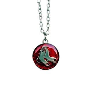 MLB Boston Red Sox Sports Team Logo Glitter Necklace