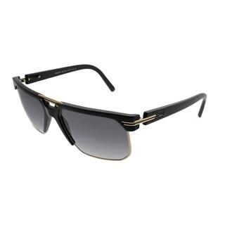 Cazal Rectangle 9072 001SG Unisex Matte Black Gold Frame Grey Gradient Lens Sunglasses