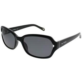 Fossil Rectangle 3021/S D28 OR Women Black Frame Grey Lens Sunglasses