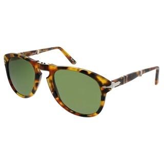 Persol Aviator PO 714 714 Series 10524E Unisex Madreterra Frame Green Lens Sunglasses