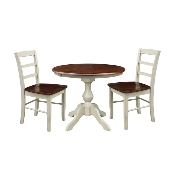 """Dining Table With Three Extension Leaves And Six Matching: Shop 3 Piece Set 36"""" Round Extension Dining Table With 2"""