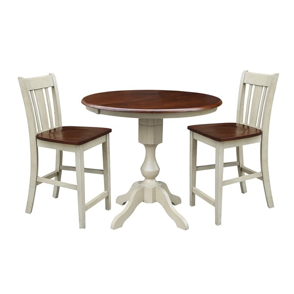 Shop 3 Piece Set 36 Quot Round Extension Dining Table With 2