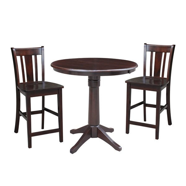 Terrific 3 Piece Set 36 Round Extension Dining Table With 2 San Remo Counter Height Stools Beatyapartments Chair Design Images Beatyapartmentscom