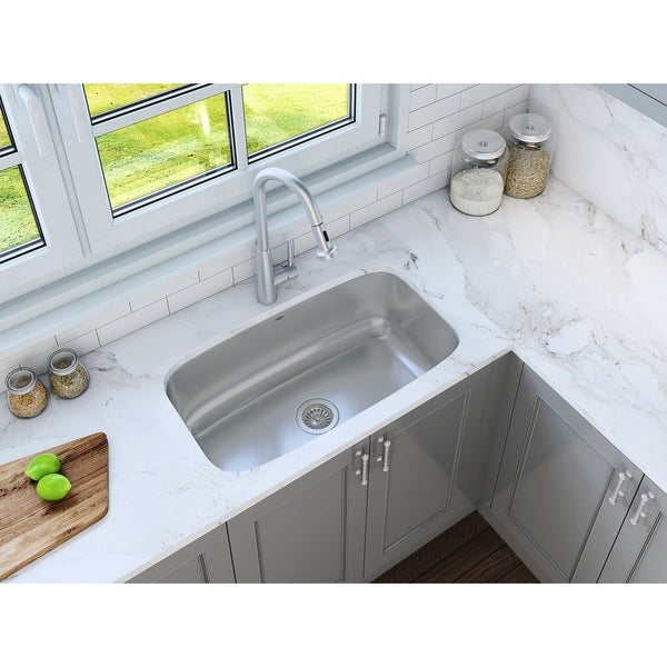 Ancona Undermount Single 31 in. Sink with Signautre II Faucet Combo
