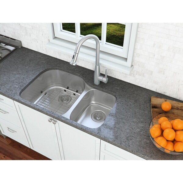 Ancona Undermount Double Offset 32 in. Sink with Signautre II Faucet Combo