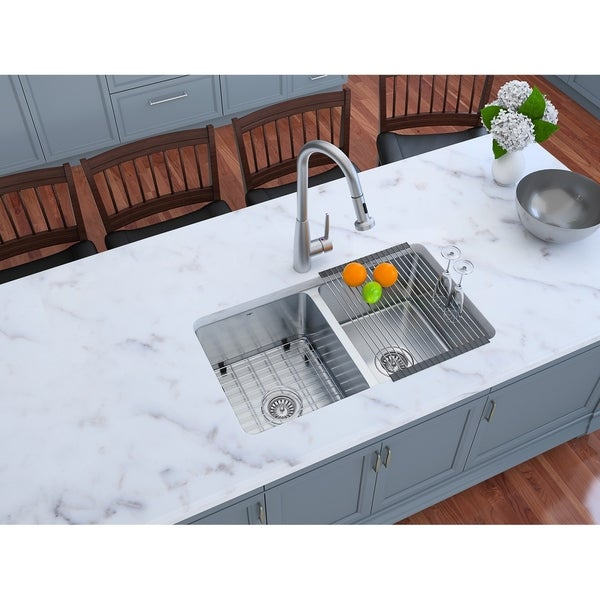 Ancona Dual Mount Double 33 in. Sink with Signature II Faucet Combo