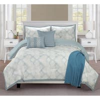 Ellen Tracy  Berlin 6-piece Comforter Bedding Set - Aqua/White