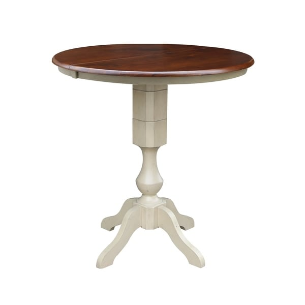 "36"" Round Top Bar Height Ped Table with 12"" Leaf"