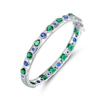 Rhodium Plated Lab-Created Emerald & Sapphire Bangle