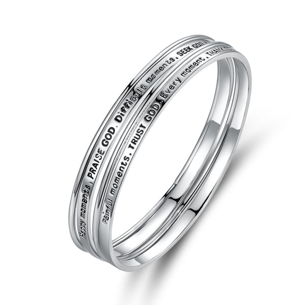 Rhodium Plated 'Happy Moments, Praise God' Bracelet Set