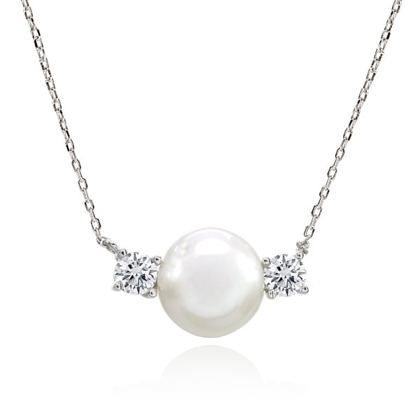 Glitzy Rocks 3-Stone Freshwater Cultured White Pearl & Cubic Zirconia Sterling Silver Necklace