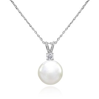 Glitzy Rocks Solitaire Freshwater Cultured White Pearl & CZ Sterling Silver Pendant Necklace