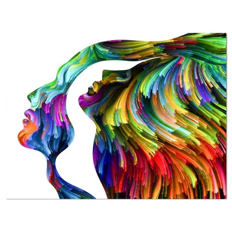 Designart 'Human Head Dream Together' Abstract People Print on Wrapped Canvas