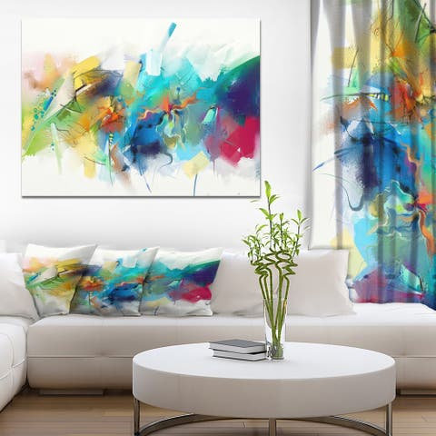 Designart 'Brush Stroke Colorful Oil Painting' Contemporary Painting Print on Wrapped Canvas