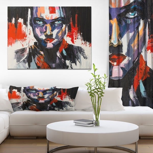 Designart 'Abstract Human oil painting' Glam Painting Print on Wrapped Canvas - Black