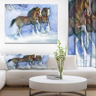 Designart 'Horses running in winter' Farmhouse Animals Photographic on wrapped Canvas