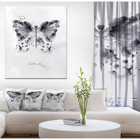 Designart 'Monotype butterfly black' Animals Painting Print on Wrapped Canvas - White