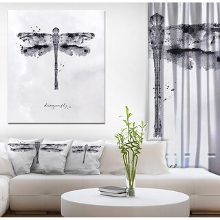 Designart 'Monotype dragonfly black' Animals Painting Print on Wrapped Canvas - White