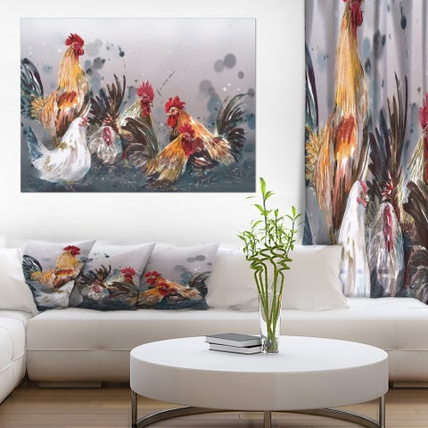 Designart 'Group of Rooster in Gray Farm background' Farmhouse Animal Painting Print on Wrapped Canvas - Grey