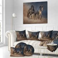 Designart 'Black and white horse run' Animals photographyPrint on Wrapped Canvas