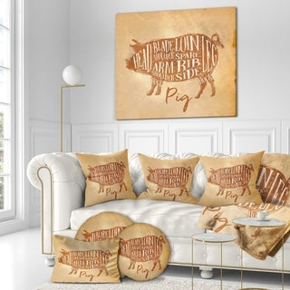 Designart 'Pig pork cutting scheme craft' Farmhouse Animal Painting Print on Wrapped Canvas