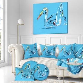 Designart 'Pelican painting' Animals Sketch Painting Print on Wrapped Canvas - Blue