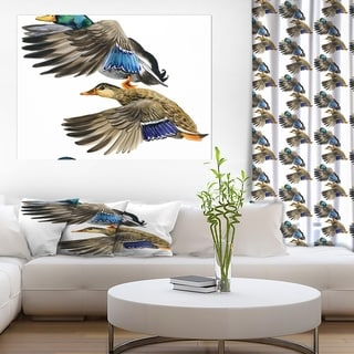 Designart 'Colored Duck isolated on white background' Sketch of Farmhouse Animals of Painting Print on Wrapped Canvas