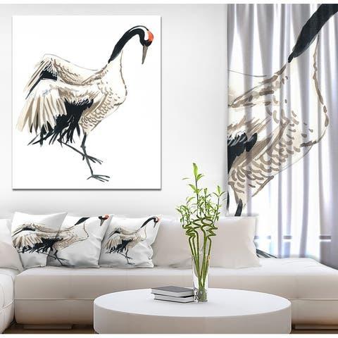 Designart 'Watercolor crane bird' Animals Print on Wrapped Canvas - White