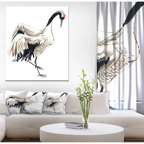 Designart 'Watercolor crane bird' Animals Painting Print on Wrapped Canvas - White