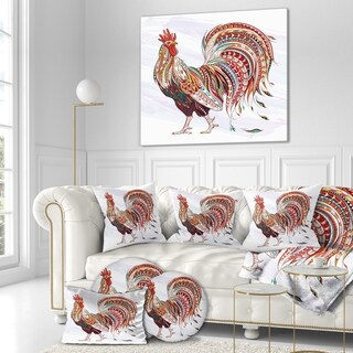 Designart 'Patterned rooster Symbol of chinese new year' Farmhouse Animals of Painting Print on Wrapped Canvas