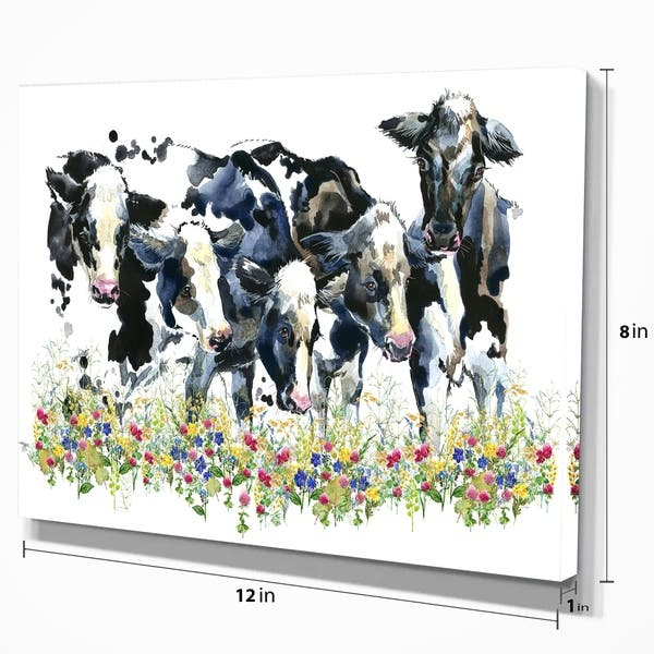 Designart Dairy Cow On The Field Watercolor Illustration Farmhouse Animal Print On Wrapped Canvas Overstock 21276005