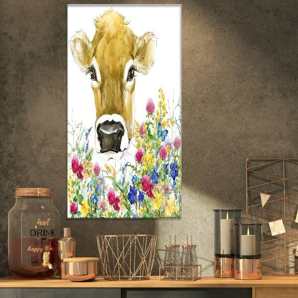 Designart Cow In Colorful Flowers Farmhouse Animal Print On Wrapped Canvas White Overstock 21276006