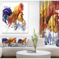 Designart 'Chicken and Rooster Family' Illustration of Farmhouse Animals of Painting Print on Wrapped Canvas