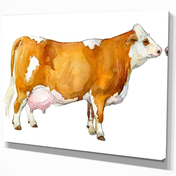 Designart Watercolor Dairy Cow Farmhouse Animal Print On Wrapped Canvas Brown Overstock 21276009