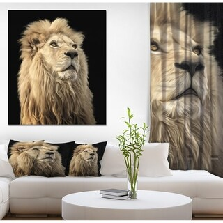 Designart 'Lion King in Back Backgroun' Contemporary Art on wrapped Canvas