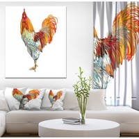 Designart 'New Year Symbol Rooster' Farmhouse Animal Painting Print on Wrapped Canvas - White