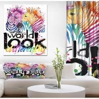 Designart 'Cute Zebra' Animals kids Painting Print on Wrapped Canvas