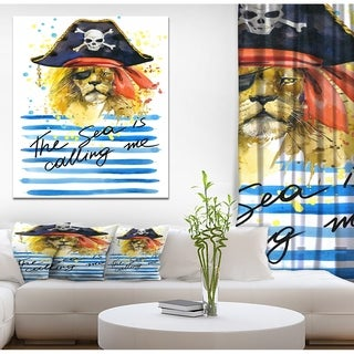 Designart 'Pirate Tiger in hat The Sea is Calling Me' Animals Painting Print on Wrapped Canvas - White