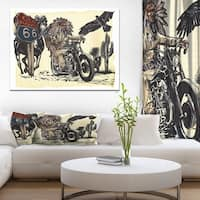 Designart 'Native American in Motorcycle' Sketch of Indian Animals Painting Print on Wrapped Canvas