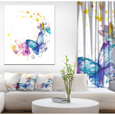 Designart 'Butterfly on White Paper' Animals Painting Print on Wrapped Canvas