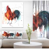 Designart 'BrightColored rooster' Farmhouse Animal Painting Print on Wrapped Canvas - White